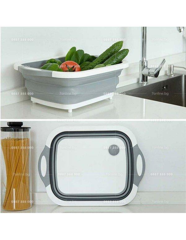 Мултифункционална сгаваема кухненска дъска -
