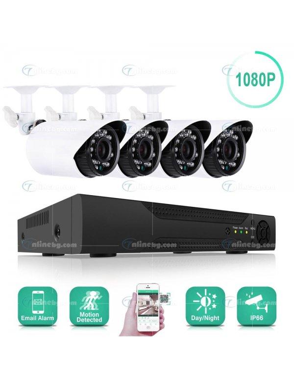 Видеонаблюдение с 4 камери FULL АHD с интернет - Видеонаблюдение