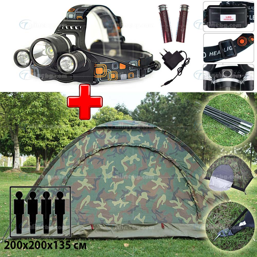 1e3c2858fe9 ПРОМО ОФЕРТА: Четириместна палатка + Фенер тип